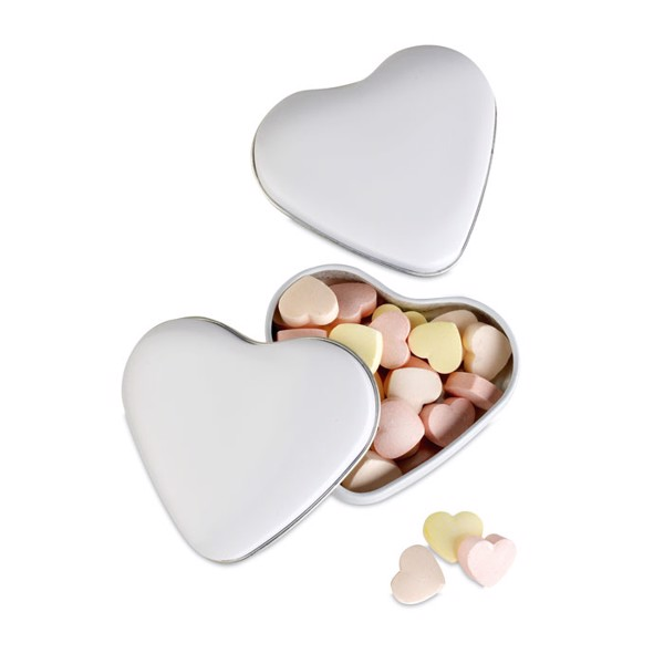 Heart tin box with candies Lovemint - White