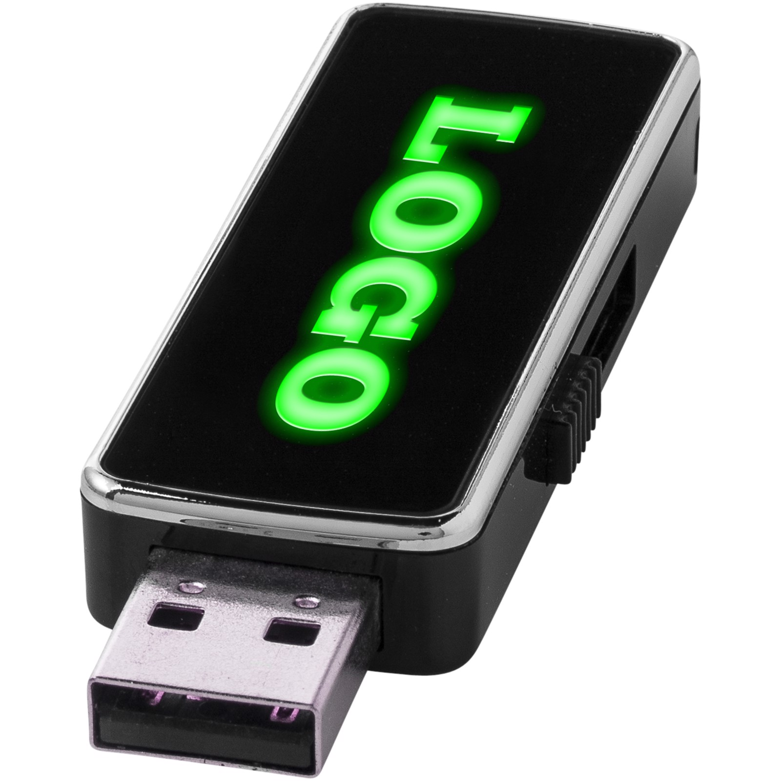 Light Up USB stick - Solid black / Green / 16GB