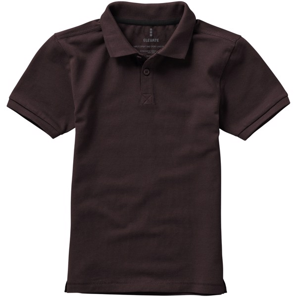 Calgary short sleeve kids polo - Chocolate Brown / 140