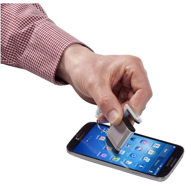 Gogo Bildschirmreiniger und Smartphonehalterung - Silber / Weiss
