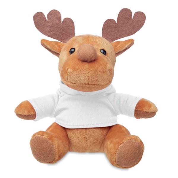 Plüsch-Rentier mit Hoody Rudolph - weiß