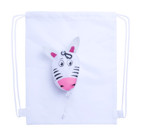 Drawstring Bag Kissa, Zebra - White