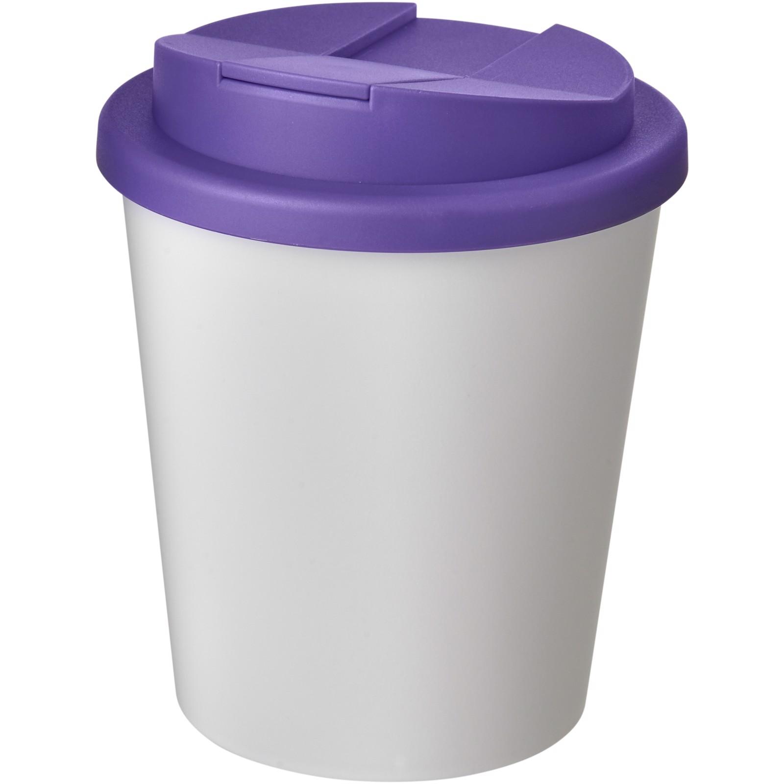 Americano Espresso® vaso 250 ml con tapa antigoteo - Blanco / Morado