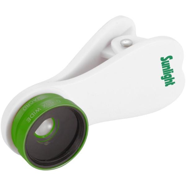 Makro čočka a širokoúhlá čočka s klipem - Bílá / Zelená