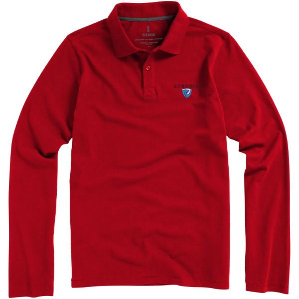 Oakville long sleeve men's polo - Red / M