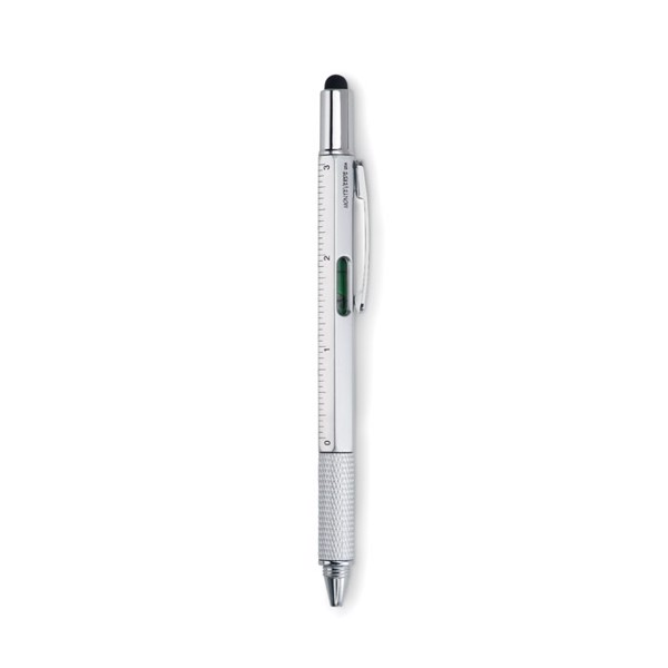 Spirit level pen with ruler Toolpen - Matt Silver