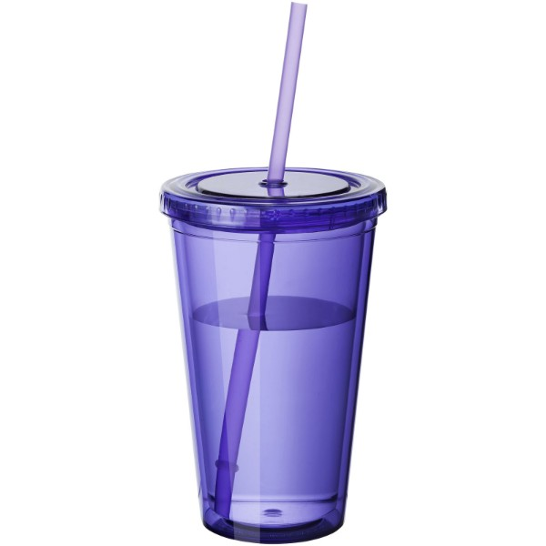 Cyclone 450 ml insulated tumbler with straw - Purple