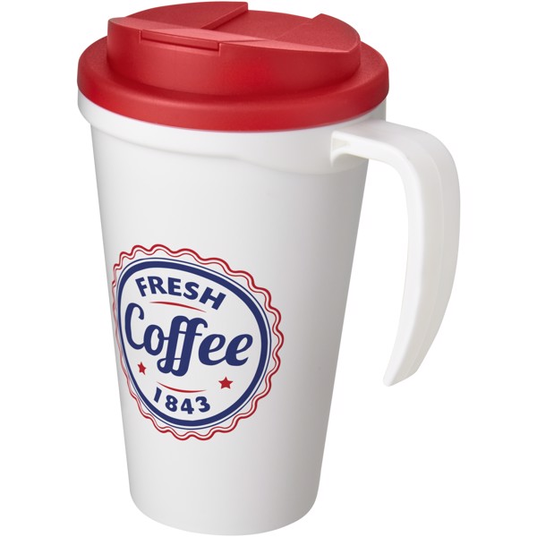 Americano Grande 350 ml mug with spill-proof lid - White / Red