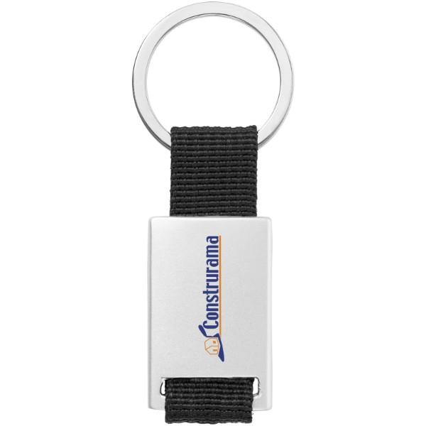 Přívěsek na klíče Alvaro s tkaným páskem - Černá / Stříbrný