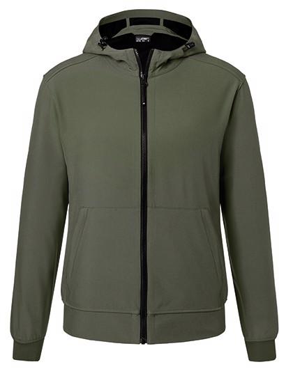 Men`S Hooded Softshell Jacket - Olive / Camouflage / 3XL