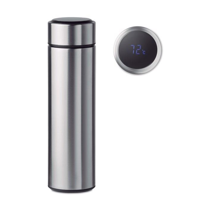 Butelka z termometrem Pole - srebrny mat