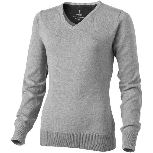 Spruce ladies V-neck pullover - Grey melange / L