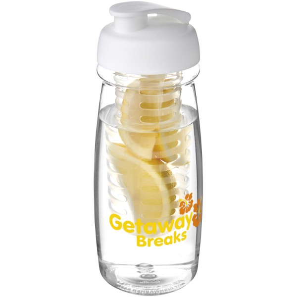 H2O Pulse® 600 ml flip lid sport bottle & infuser - Transparent / White