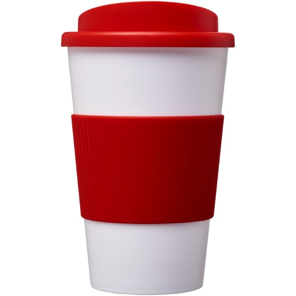 Americano® 350 ml insulated tumbler with grip - White / Red