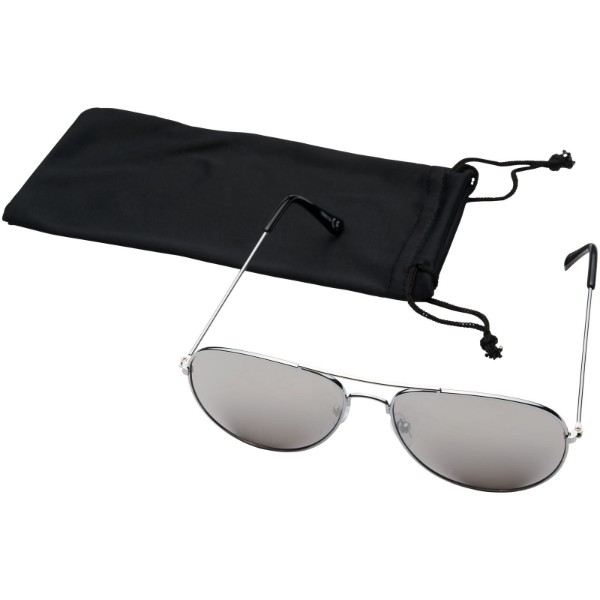 Aviator sunglasses with coloured mirrored lenses - Silver