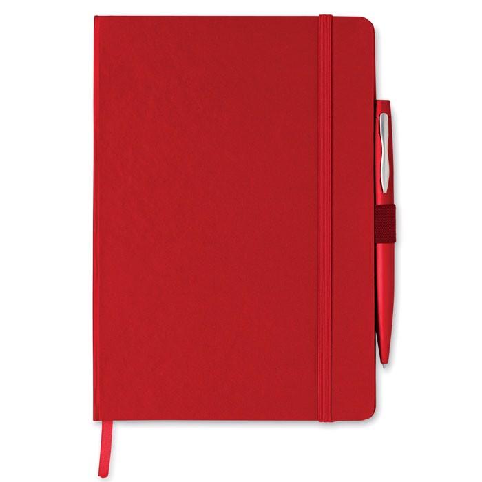 Notes A5 z długopisem Notaplus - czerwony