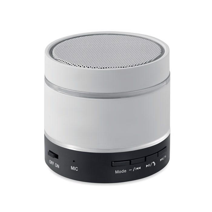 Podświetlany głośnik bluetooth Round Light - biały