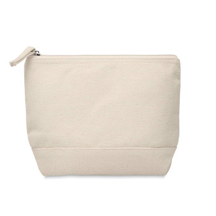 Bicolour cotton cosmetic bag Kleuren - Beige
