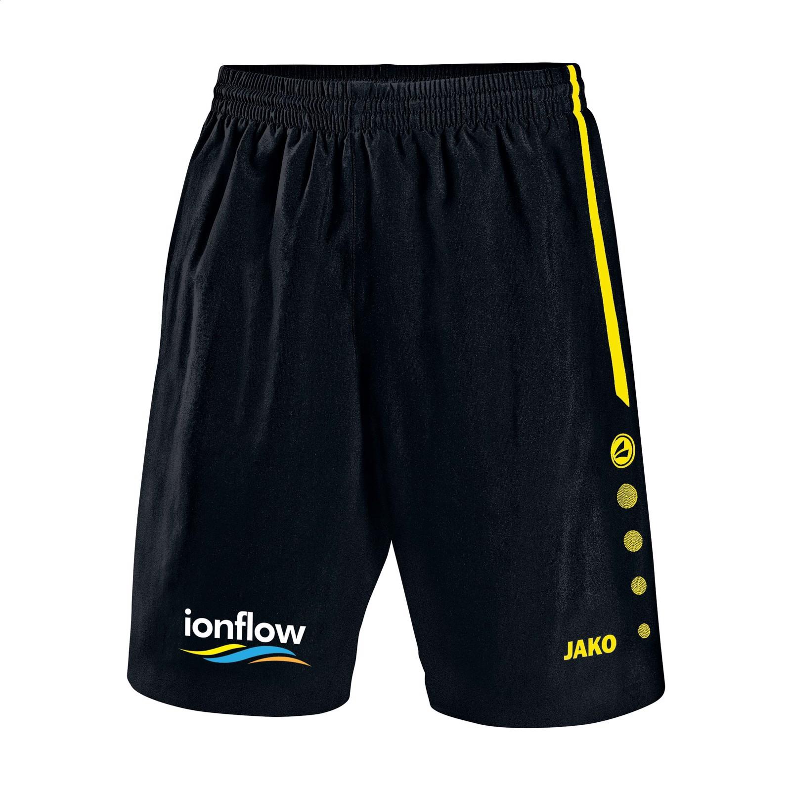 Jako® Short Turin Kids sportspants - Black / Yellow / 152