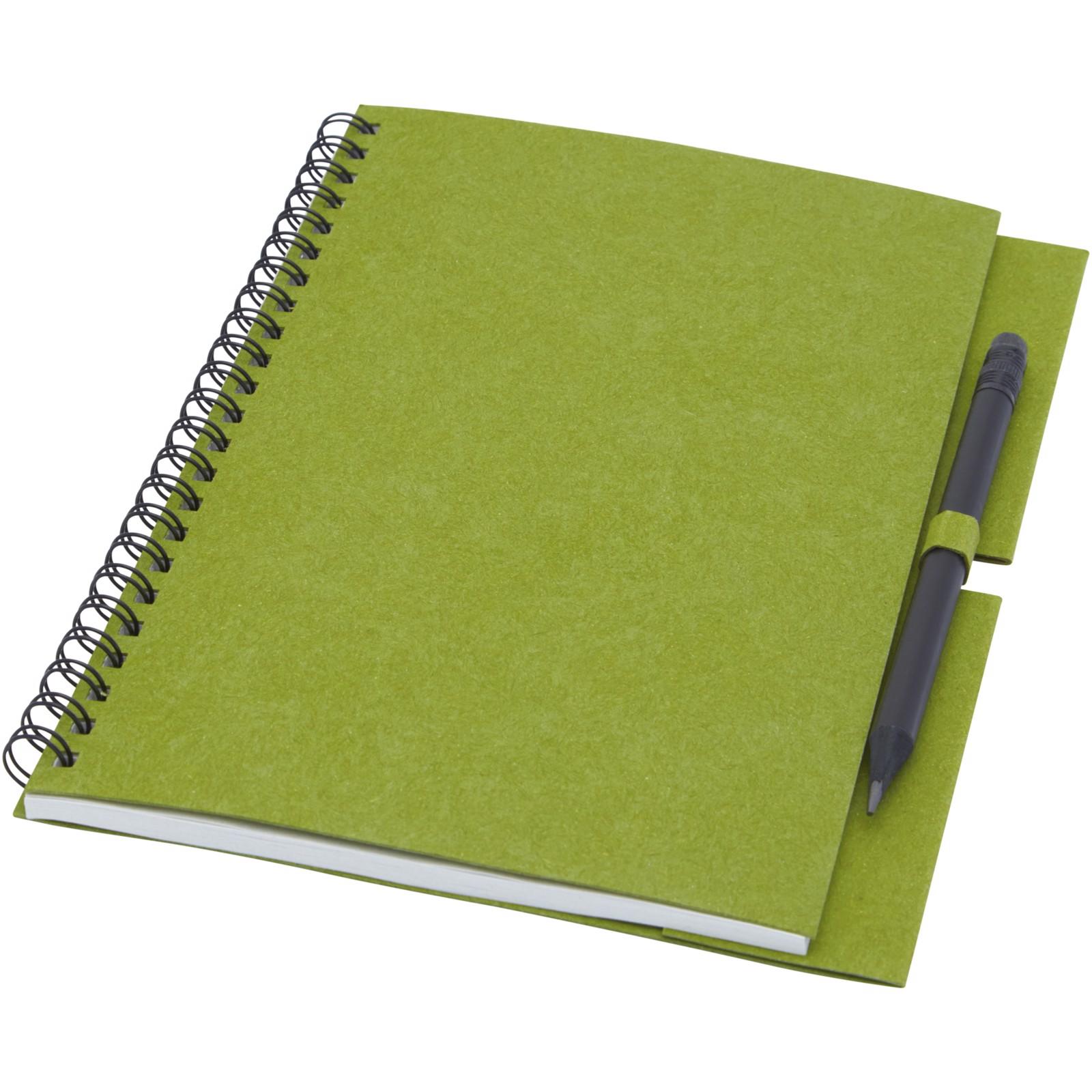 """Libreta mediana con espiral y lápiz """"Luciano Eco"""" - Verde"""
