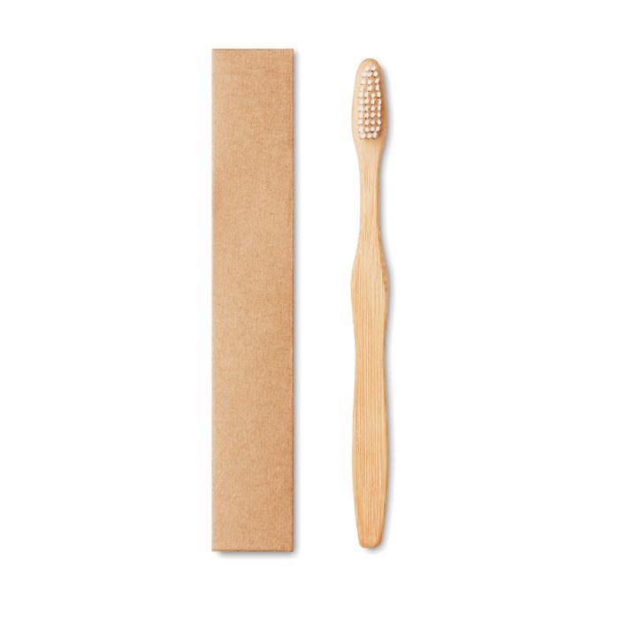 Bamboo toothbrush in Kraft box Dentobrush - White