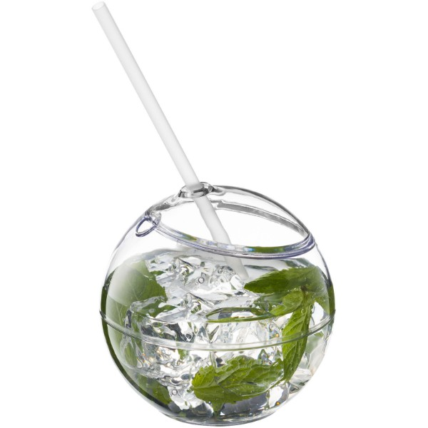 Fiesta 580 ml beverage ball with straw - Transparent clear