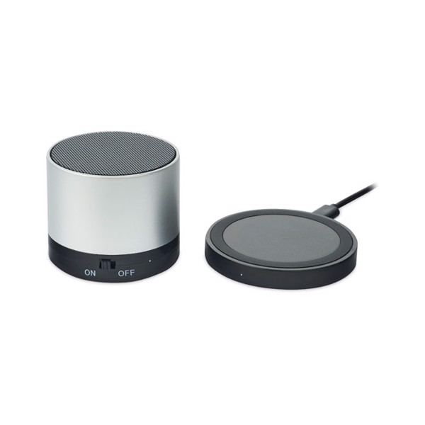 Wireless chargeable speaker Round Less - Matt Silver