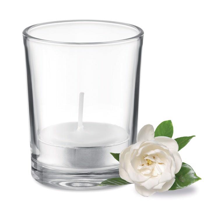 Svícen ze skla se svíčkou Transparent - white