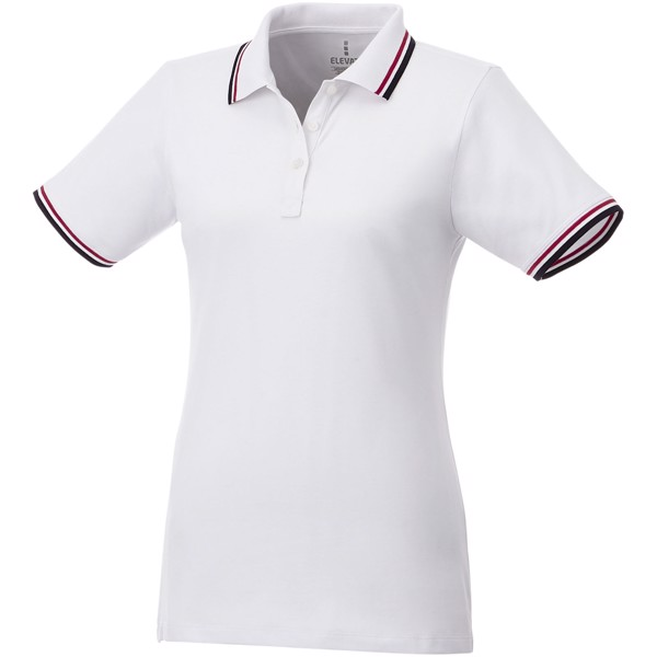 Fairfield short sleeve women's polo with tipping - White / Navy / Red / M