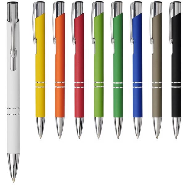 Moneta soft touch click ballpoint pen - White