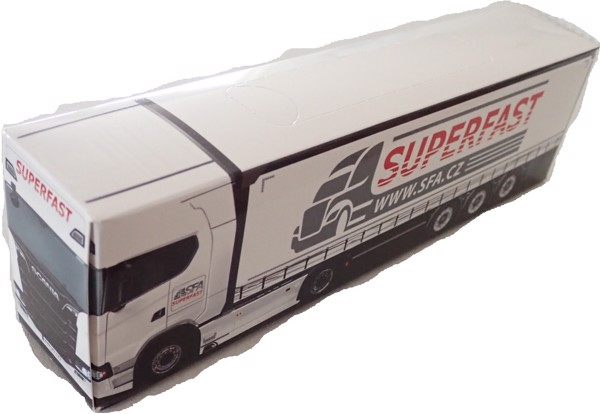 Reklamní papírové kapesníčky v krabičce (kamion) s vlastním potiskem 26x5x7 cm