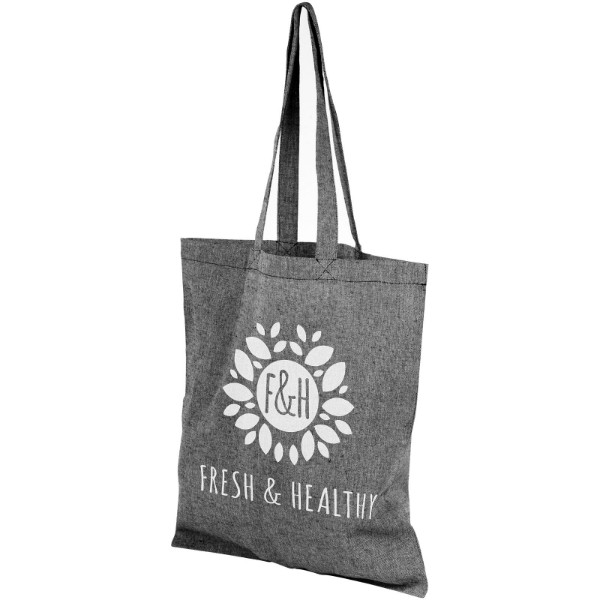 Pheebs 150 g/m² recycled cotton tote bag - Heather black
