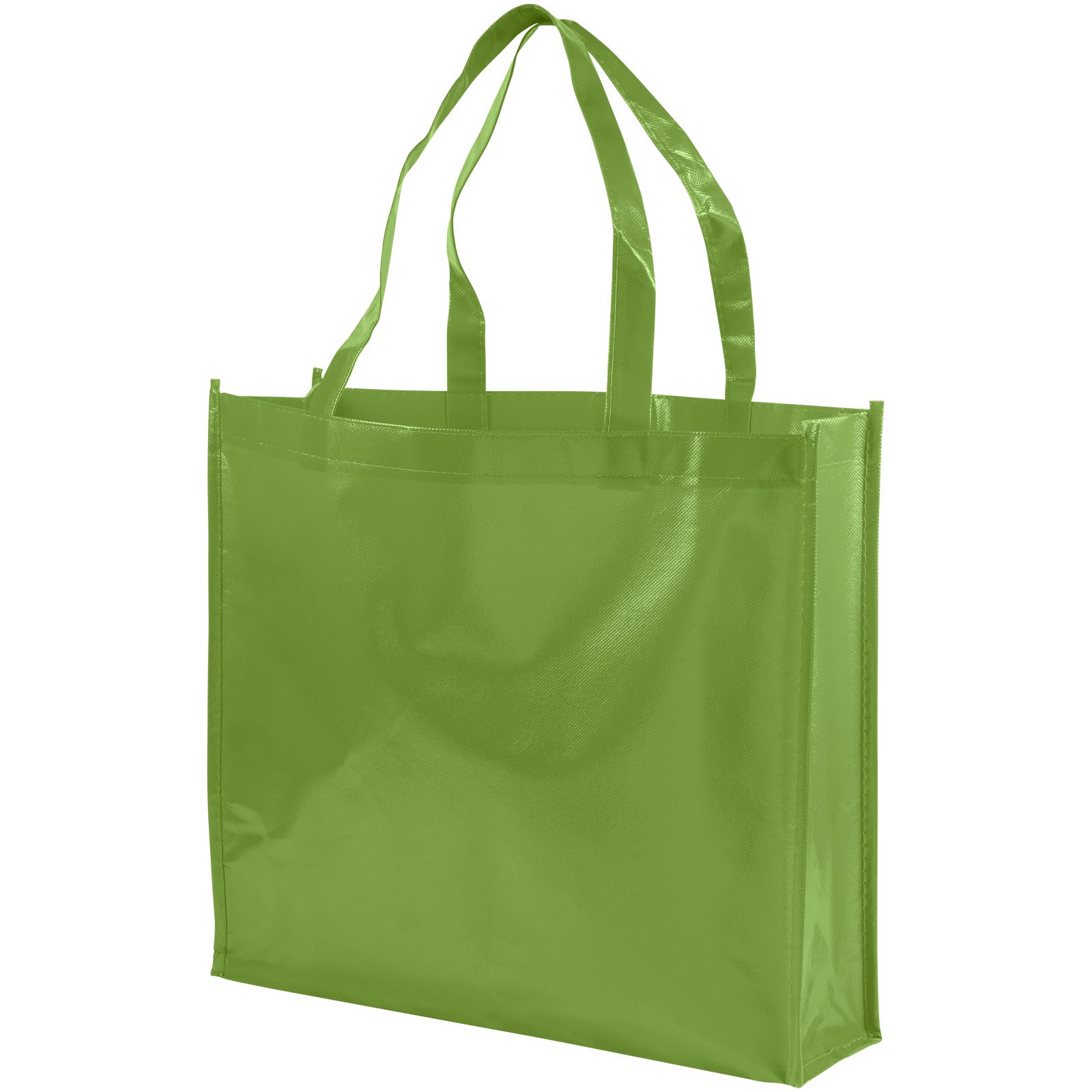 Shiny laminated non-woven shopping tote bag - Lime