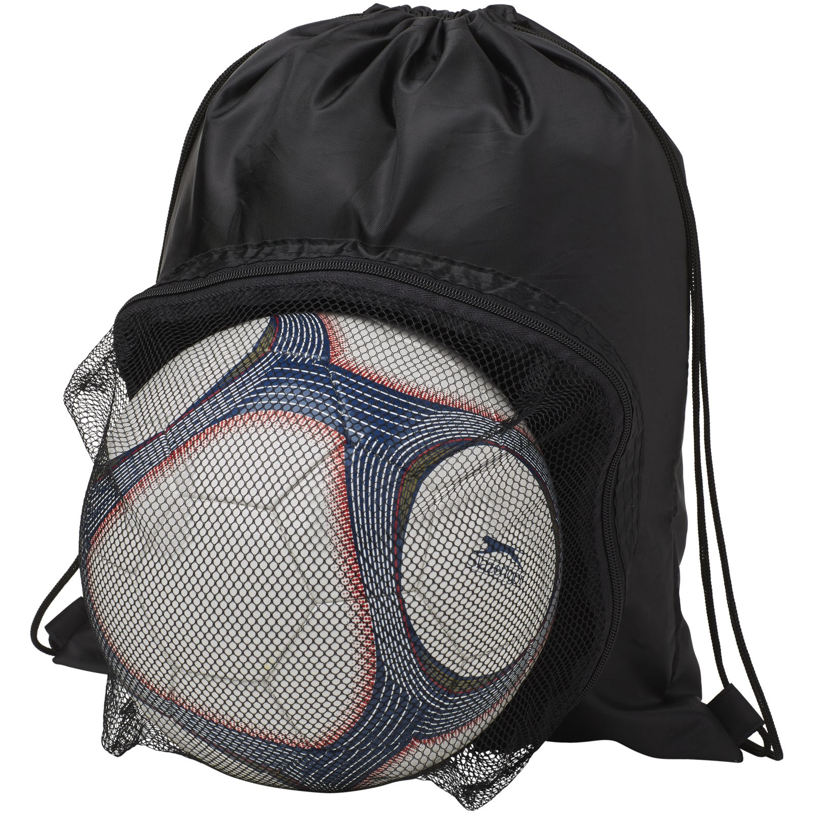 Goal drawstring backpack with football compartment - Solid black