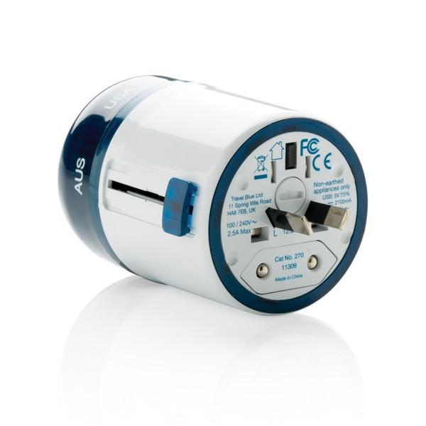 Cestovní adaptér pro celý svět Travel Blue s USB