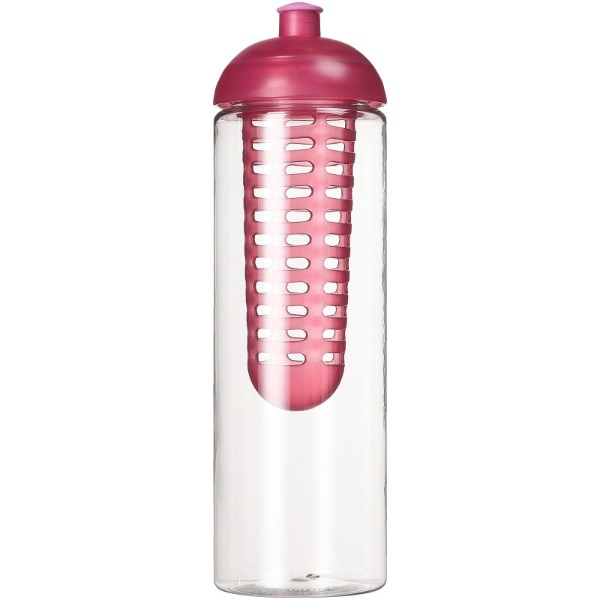 H2O Vibe 850 ml dome lid bottle & infuser - Transparent / Pink