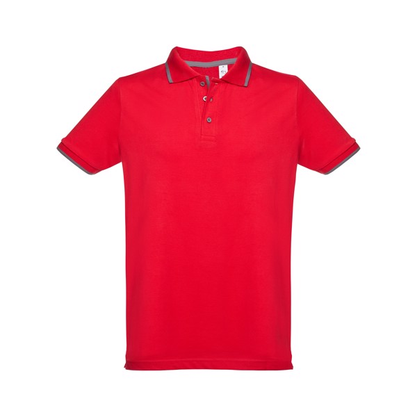ROME. Ανδρική πόλο μπλούζα slim fit - Κόκκινο / XXL