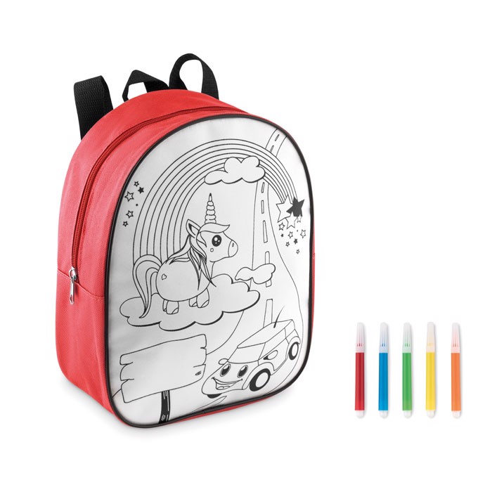 Backpack with 5 markers Backsketchy - Red