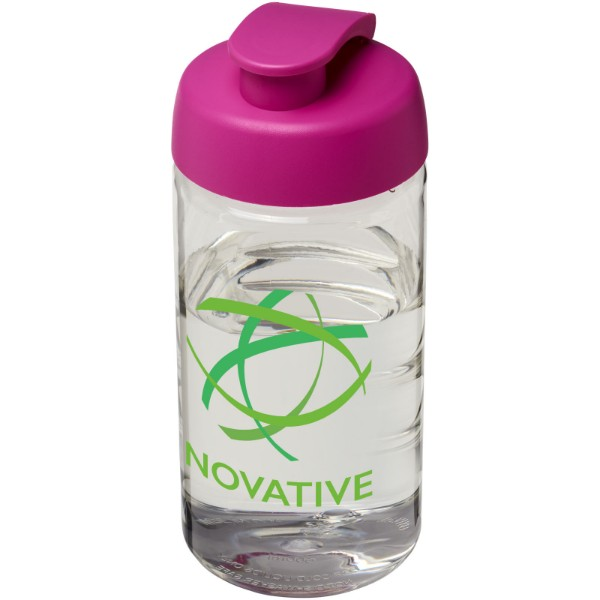 Sportovní láhev s vyklápěcím víčkem H2O Bop® 500 ml - Průhledná / Růžová