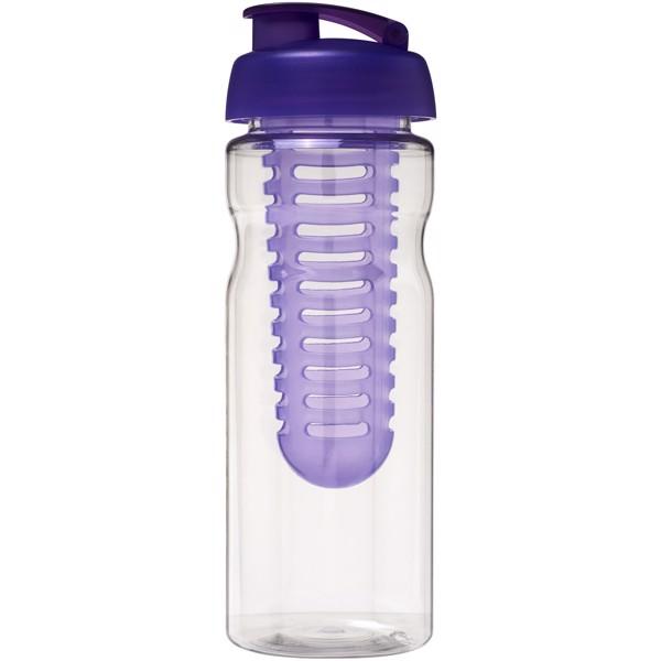 Sportovní láhev s infuzérema vyklápěcím víčkem H2O Base® 650 ml - Transparent / Purpurová