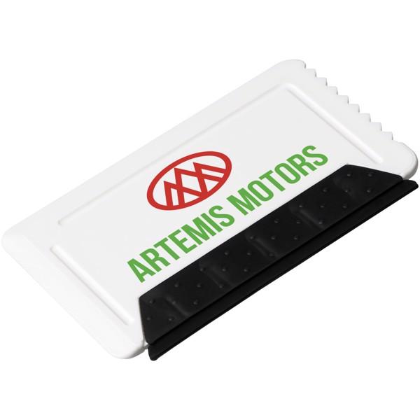 Freeze Eiskratzer in Kreditkartengröße mit Gummi - Weiss