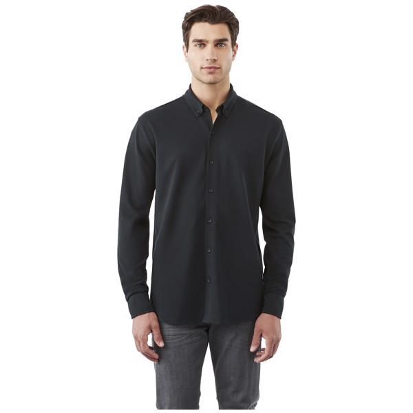 Bigelow long sleeve men's pique shirt - Solid Black / S