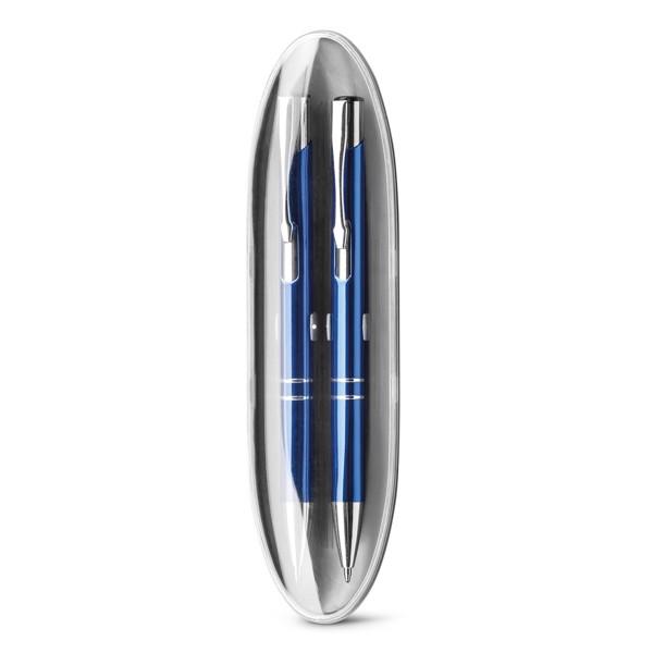 BETA SET. Set de bolígrafo y portaminas de metal - Azul Royal