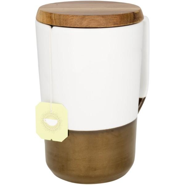 Tahoe 470 ml ceramic mug with wooden lid - White