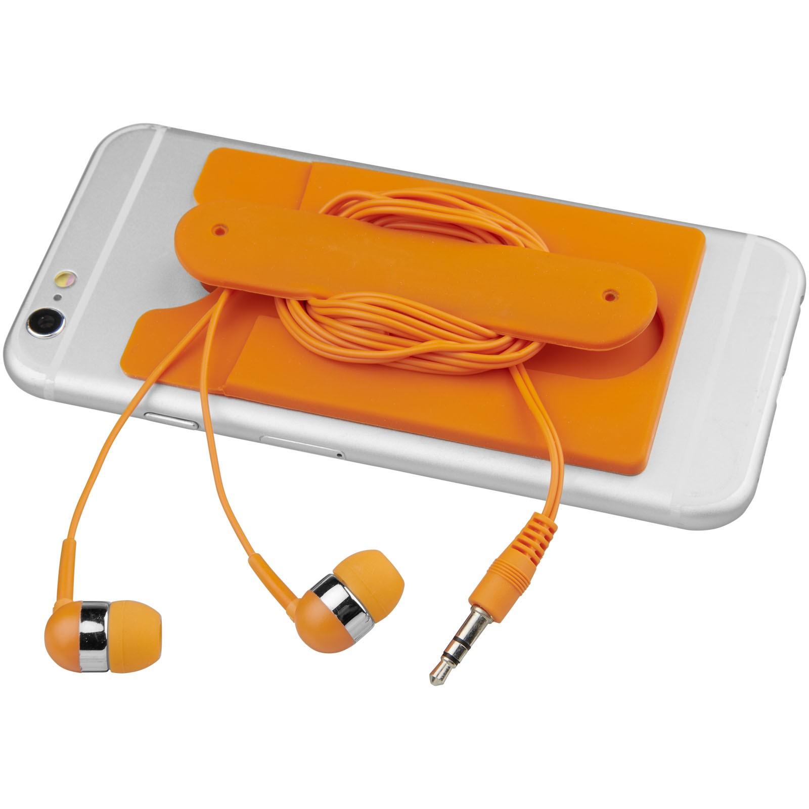 Sluchátka s kabelem a silikonové pouzdro na telefon - 0ranžová