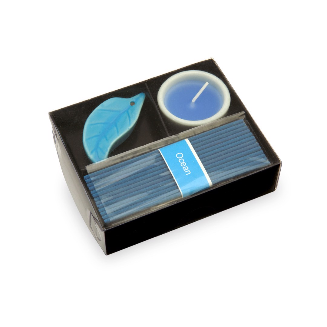 Inciense and Candle Set Nikel - Blue
