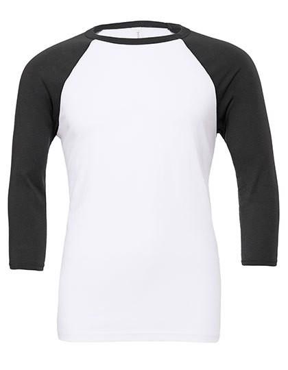 Unisex 3 / 4 Sleeve Baseball T-Shirt - White / Dark Grey / XL