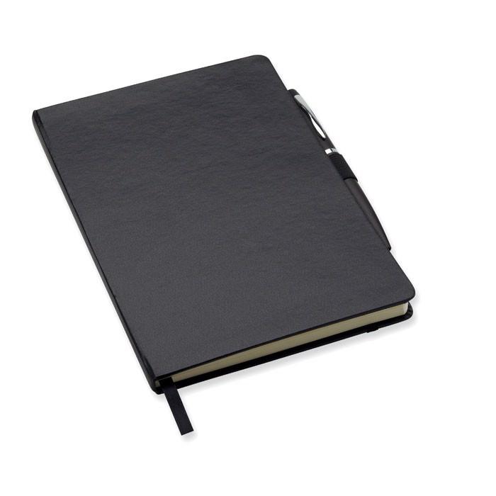 Notatnik formatu A5 z długopis Notaplus - czarny