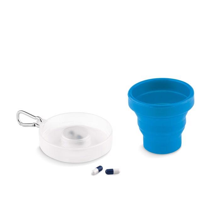 Składany kubek silikonowy Cup Pill - granatowy