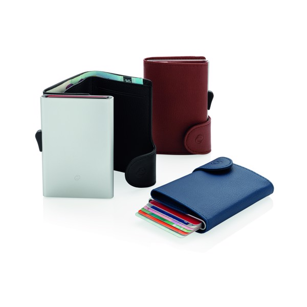 RFID pouzdro C-Secure na karty a bankovky - Hnědá / Stříbrná